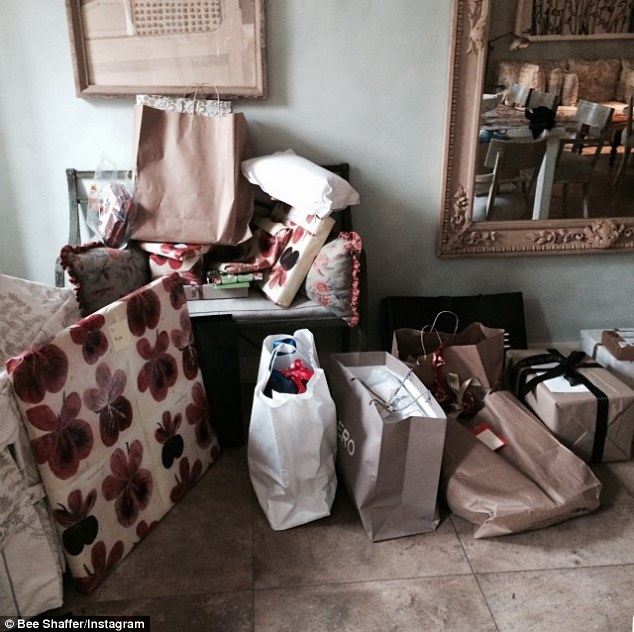 So ... where do we hang the stockings?: Anna Wintour's daughter Bee Shaffer posted this photo on Instagram on Christmas Day showing a heap of presents piled in a corner because her mom decided to get rid of the Christmas tree early
