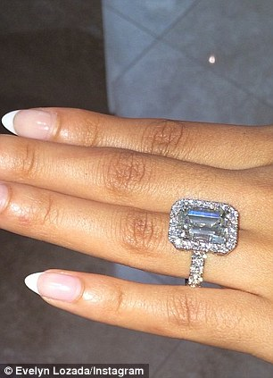 That's a lot of rock: The sportsman presented the 37-year-old Bronx native with a giant 14.5 carat diamond ring  worth a $1.4 million