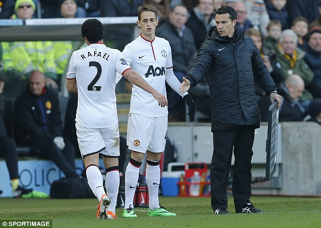 Injury blow: Rafael was replaced by Adnan Januzaj with 19 minutes gone after limping off with a groin problem