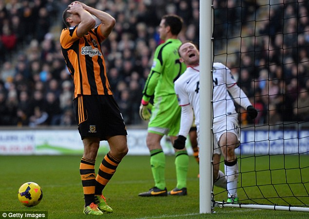 Head in hands: James Chester turns from hero to zero after scoring the decisive goal in the second half