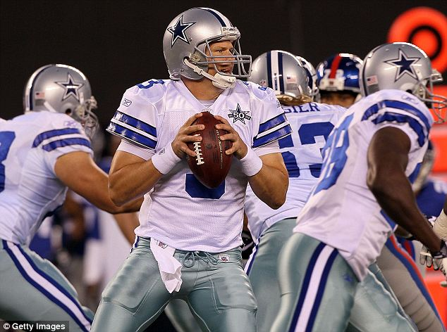 Back in the game: Jon Kitna played for the Dallas Cowboys for two years (seen here at a November 2010 game) but retired in January 2012 and now he is going back to play on Sunday to fill in for Tony Romo