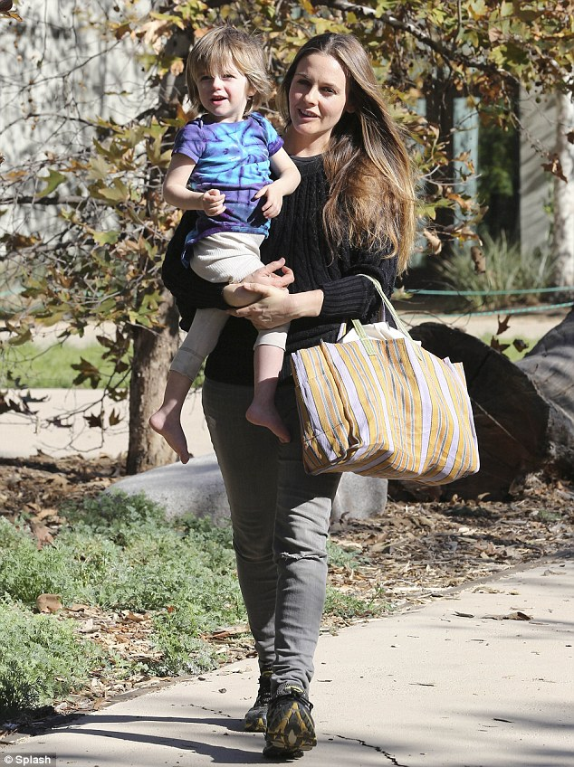 Nature boy: Alicia Silverstone treated her two-year-old son Bear Blu to a fun-filled walk at Tree People park in Los Angeles on Wednesday