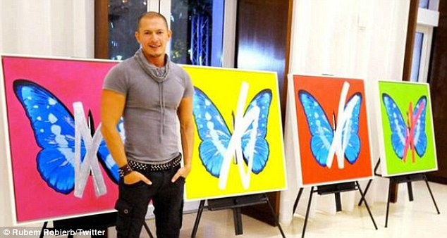 Flapping his wings: Meanwhile, Sam's Brazilian beau recently showed his butterfly-obsessed artwork at Miami's Art Basel