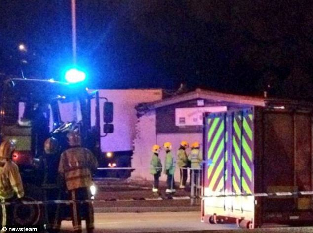Emergency: Paramedics rushed to the social club but the man, who had been delivering milk, was pronounced dead at the scene of the crash