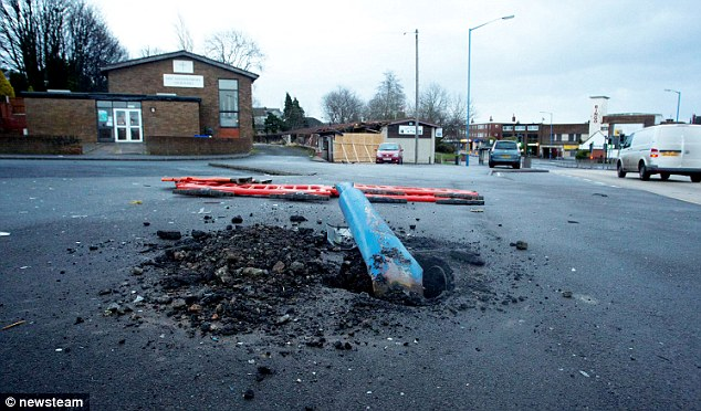 Crash: A post collapsed near the Royal British Legion club in Wednesbury following the accident on Boxing Day