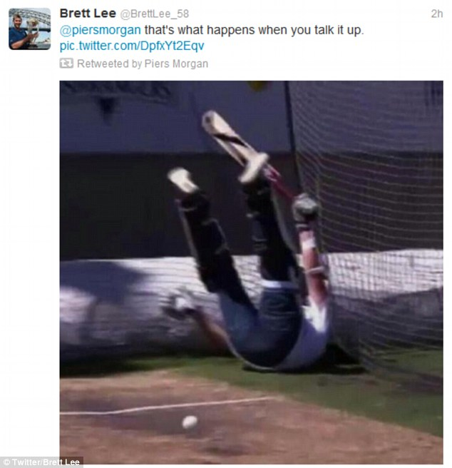 Sticking the boot in: Brett Lee took to Twitter afterwards to mock his adversary