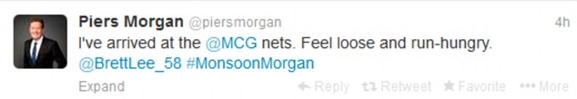 Warning: Morgan tweeted that he was hungry for runs before arriving at the MCG nets