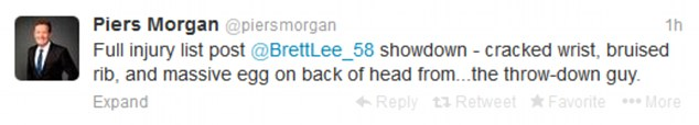 Mocking: Morgan later took to Twitter to claim that his injuries had been caused by the warm-up bowler