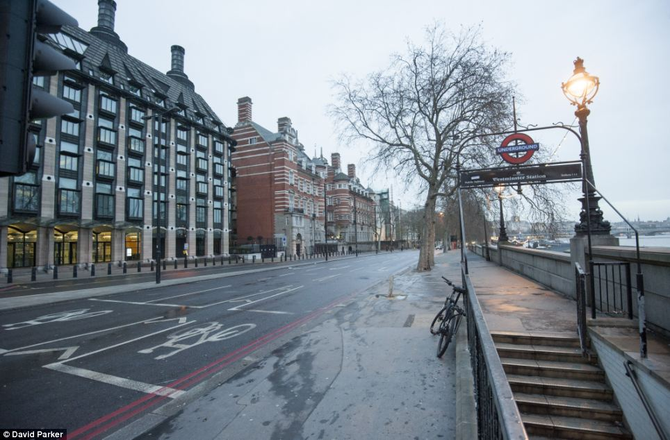 London's Embankment at rush hour resembled the the normal scene in the early hours of the morning, with no traffic or pedestrians lining the normally busy route