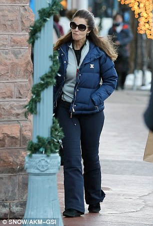 Hitting the sales: Maria and her daughter visited several shops Friday in Aspen