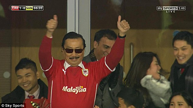 Thumbs up: Tan looks happy after Mutch's goal, just a day after sacking manager Malky Mackay