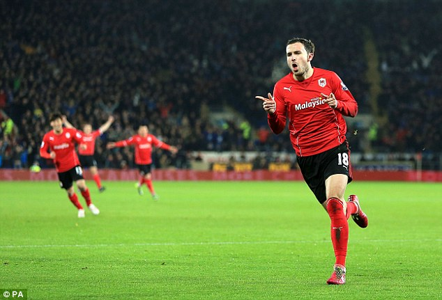 What a start: Mutch celebrates his goal just six minutes into the first half