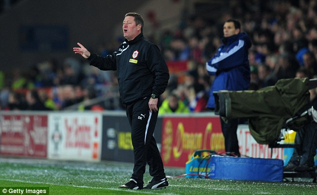 Man in charge: Cardiff caretaker boss David Kerslake gives instructions to his players from the touchline