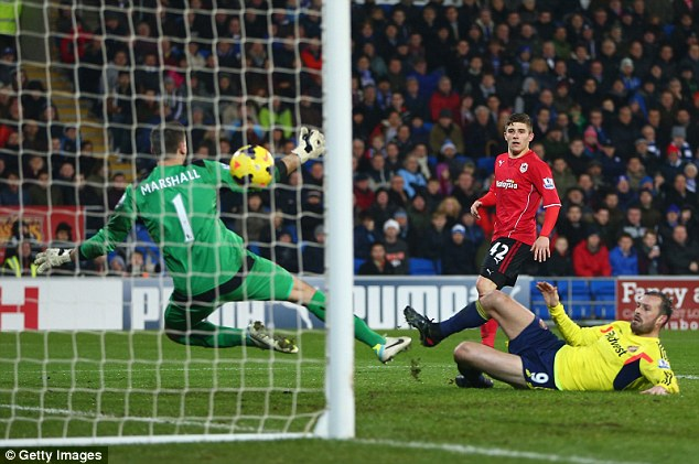 Back in it: Substitute Steven Fletcher reduces Cardiff's lead with a volley in the 83rd minute