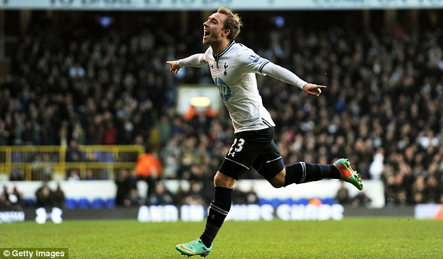 More of the same: Christian Eriksen, celebrating a goal against West Brom, says Spurs must be more clinical