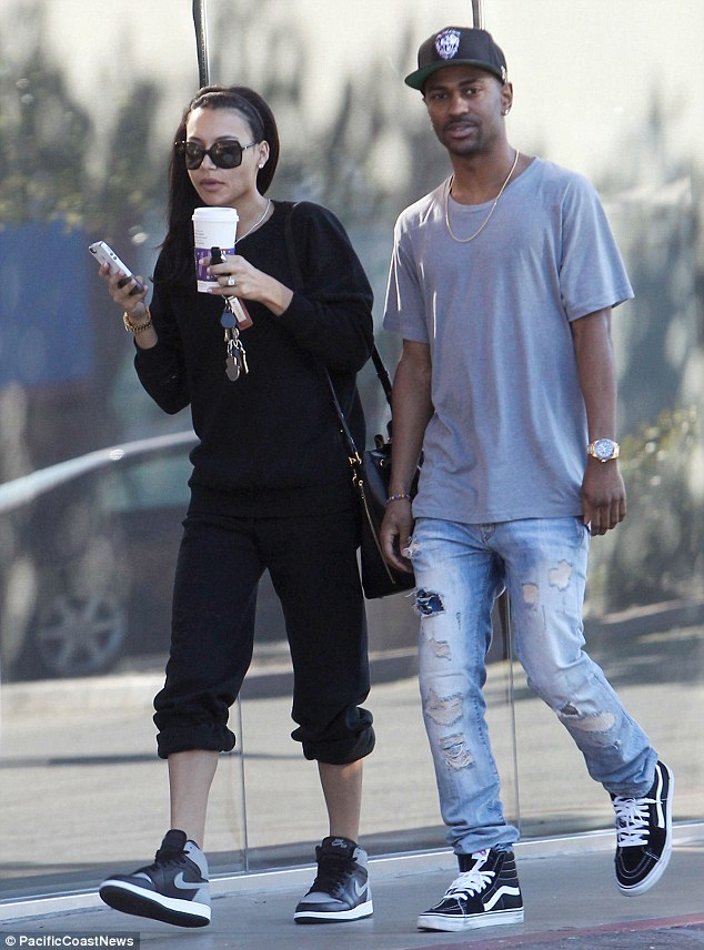 Out and about: Earlier in the day Naya was seen on a coffee run with her fiancé, Big Sean