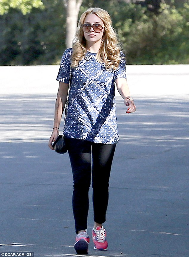 Healthy start: Amanda Bynes looked back to her old self as she walked in her Thousand Oaks neighborhood on Sunday