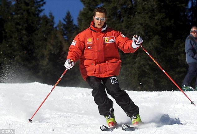 Schumacher carving a turn while skiing at the Italian resort of Madonna di Campiglio, Italy, in 2000