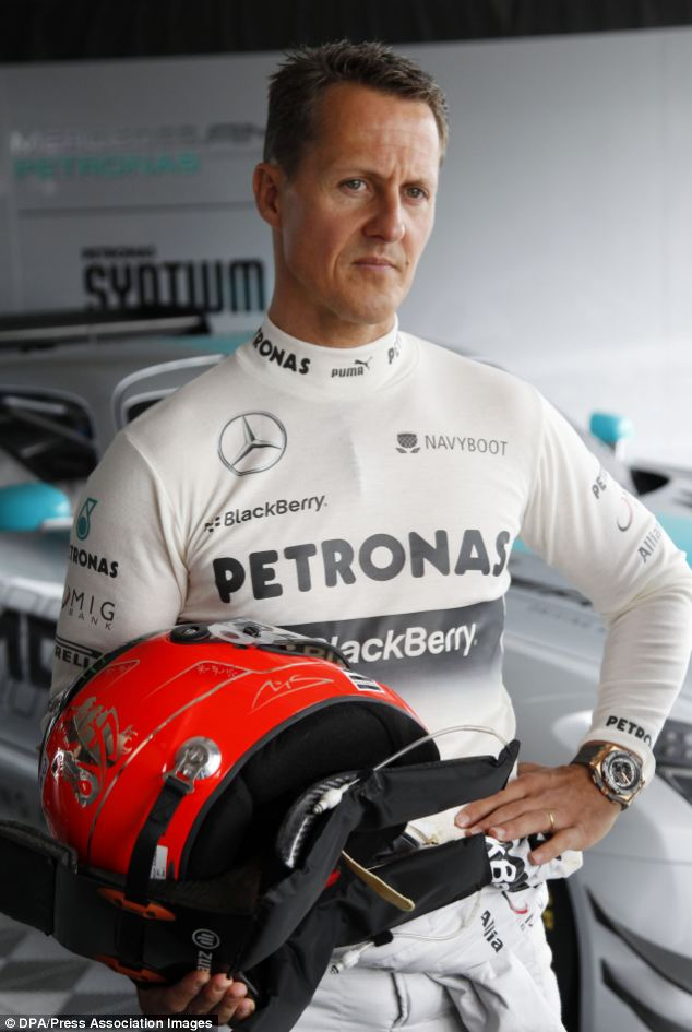 Veteran: Seven-time F1 world champion Michael Schumacher drives the Nordschleife with the Mercedes F1 car on the Nurburgring in May this year