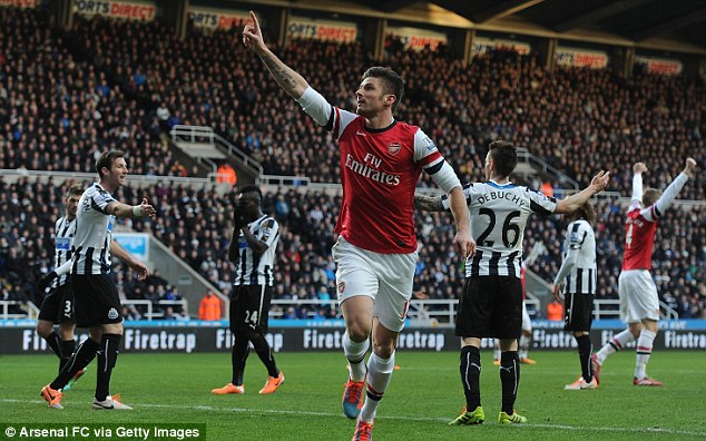 Back in the goals: Olivier Giroud returned to the scoresheet in another win for Arsenal