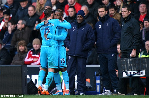 Cameo: Defoe's last run for Spurs was coming on for Roberto Soldado in the 85th minute against Southampton