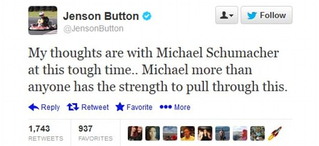 Worried: Formula 1 driver Jenson Button also tweeted about Michael Schumacher's accident
