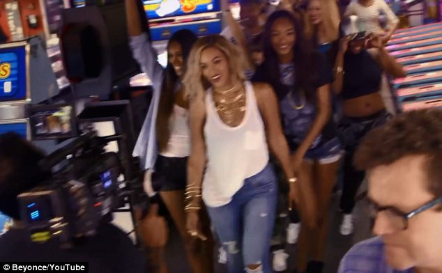 Organic: Beyonce and her dancers arrived at Coney Island and just started filming and she is thrilled with the results