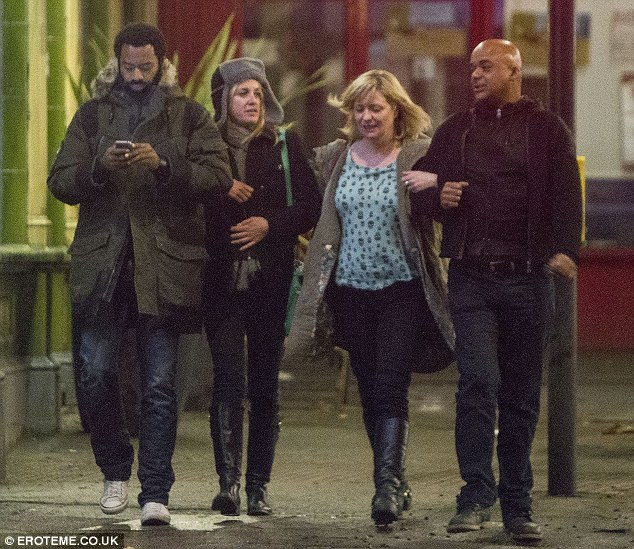 'Reunion': The star tweeted to say: 'Life is good! LSC reunion with great friends. Nicholas Pinnock, Laurie Brett, Johnny Amobi Xxxxx'