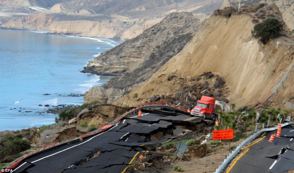 Devastating damage: The toll road, which could be closed for up to a year, provides access to the major port of Ensenada and is the main access point to Baja by sea