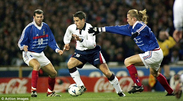 Game to remember: Redknapp in action for England against France's Zinedine Zidane (left) and Emmanuel Petit at Wembley in 1999. Les Bleus won the game 2-0 thanks to a brace from Nicolas Anelka
