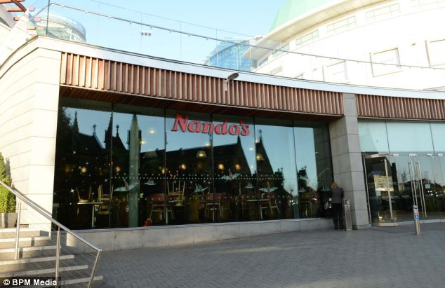 Ms Barot was served the meal at Nando's in the Bullring, Birmingham, (pictured) after she had ordered a grilled halloumi cheese pitta