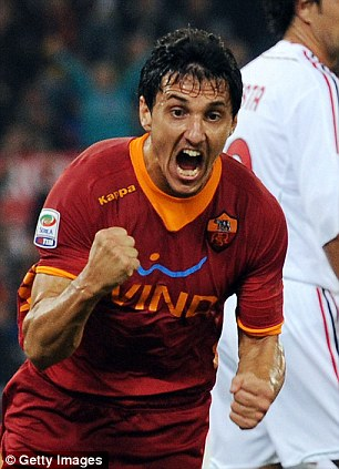 Goal threat: West Ham are considering a January move for Roma's Nicolas Burdisso to help their survival bid