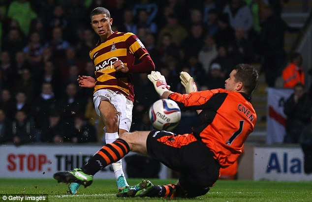 Wanted man: Huddersfield are the latest team to show an interest in Bradford forward Nakhi Wells
