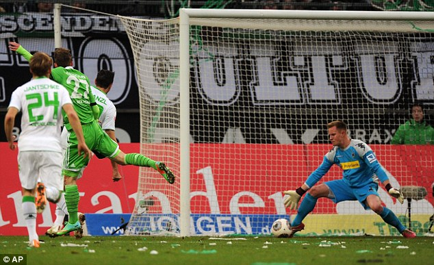 In demand: Borussia Monchengladbach's 20 year-old keeper Ter Stegen, right, is wanted by Arsenal, Barcelona and Juventus