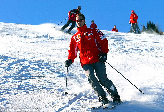 On the slopes: Michael Schumacher - pictured in 2005 - is fighting for his life after hitting his head