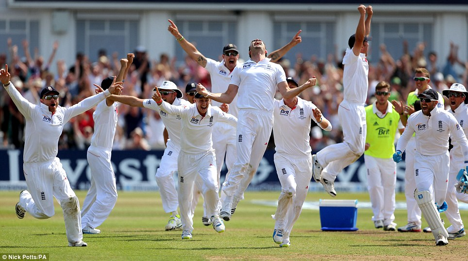 Roar emotion: James Anderson (centre) leads the celebrations as a DRS decision goes in England's favour to secure victory in the First Investec Ashes Test match against Australia at Trent Bridge way back in July... A lot of bad cricket has been played since then