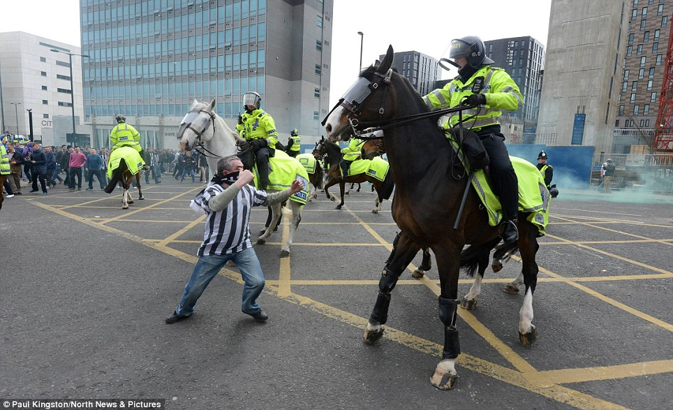 Confrontation: A Newcastle fan squares up to a police horse after his side lost 3-0 to bitter rivals Sunderland in April. He was later jailed for 12 months