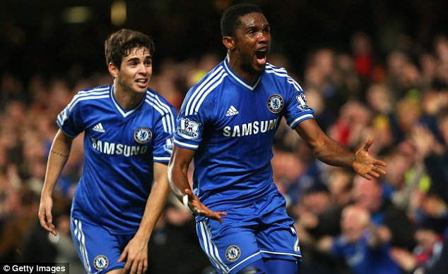 Rough justice: Eto'o went on to score Chelsea's winning goal in their 2-1 over Liverpool