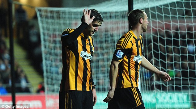Celebrate...please! Danny Graham apologised to the Swansea fans after scoring for Hull against his former club