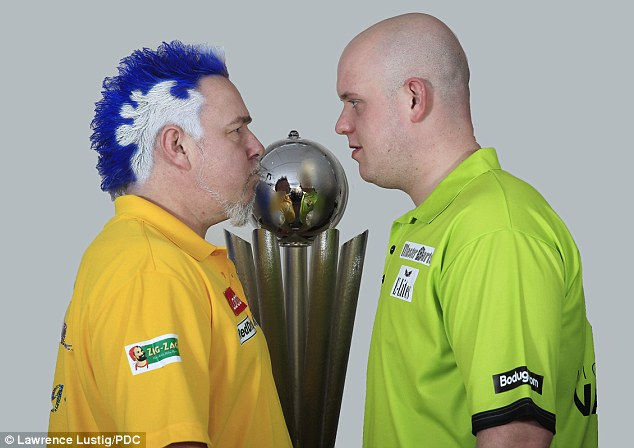 Head to head: Peter Wright will face Michael van Gerwen in the World Championship final