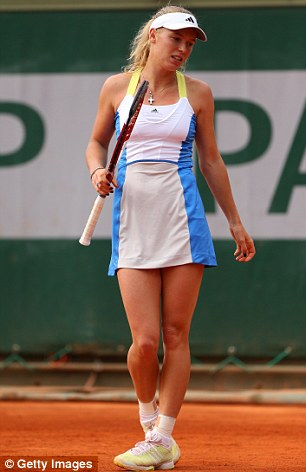 Hot shot: Wozniacki during a match at the 2013 French Open