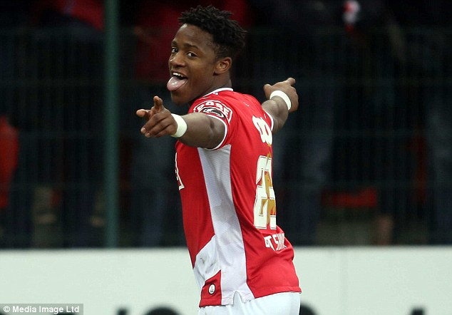 Poser: Standard Liege's Michy Batshuayi has also caught the eye of the Toffees with 16 goals so far this term