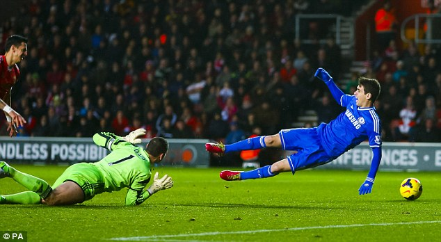 Dramatic: Oscar took the ball round Kelvin Davis but opted to dive in the box rather than go for goal