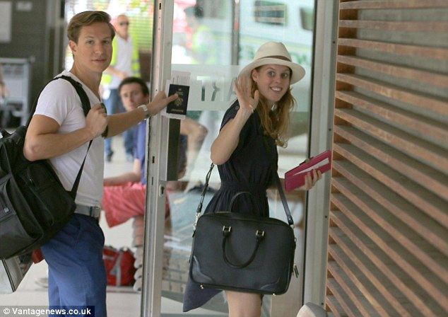 Happy couple: Princess Beatrice on vacation in St Barts with boyfriend Dave Clark. The couple stayed on the Amevi super yacht.