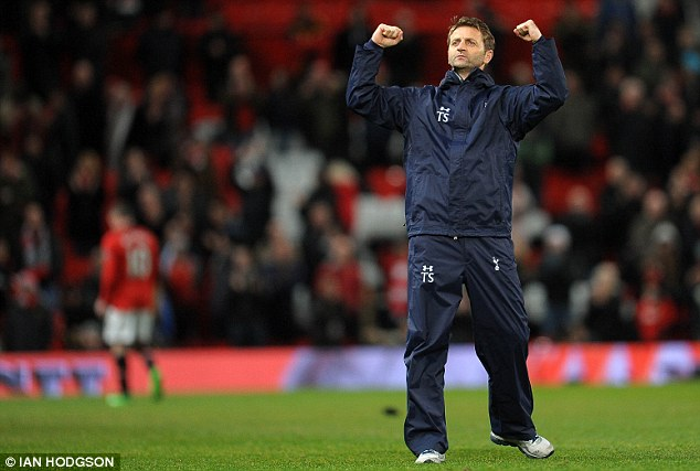 Easy does it: Tim Sherwood has taken to management at Tottenham like a duck to water