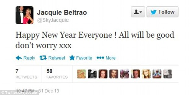 'All will be good': The presenter also wished her 33,000 followers a happy new year