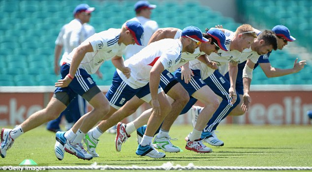 Hard work: Joe Root, Matt Prior, captain Alastair Cook, Ben Stokes and James Anderson of England run sprints during a nets session at Sydney Cricket Ground on New Year's Day