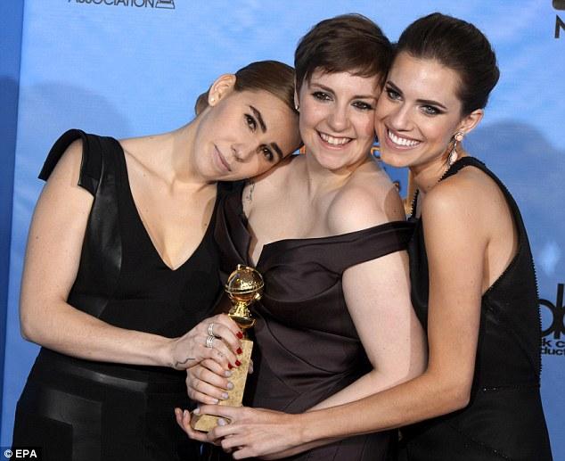 Girls: US actresses Lena Dunham, Zosia Mamet and Allison Williams  hold the Golden Globe award for Best TV Series