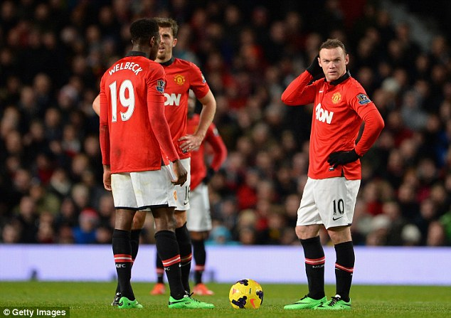 Struggling: Manchester United are in seventh spot, 11 points off league-leading Arsenal