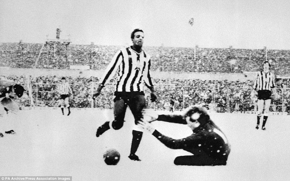 Manchester United goalkeeper Steve Pears dives at the feet of Newcastle United's new striker Tony Cunningham.
